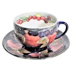 William Moorcroft Pomegranate Patterned Art Pottery Teacup & Saucer Set #1 of 4