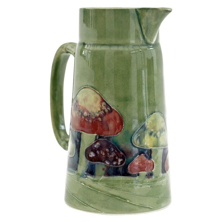 William Moorcroft Rare Claremont Mushroom Design Art Pottery Jug Dated 1914 For Sale