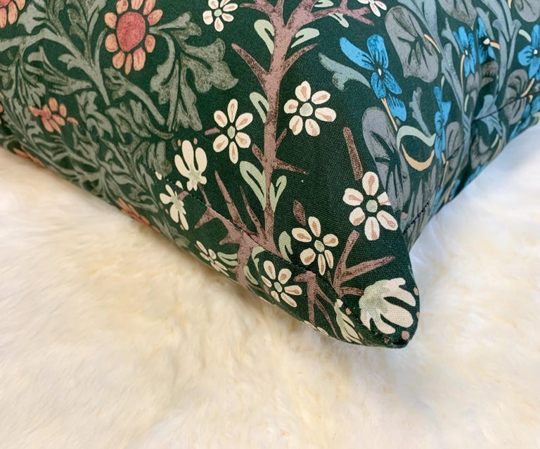 Beautiful pillow crafted in our Saint Louis studio. William Morris Blackthorn is a lovely dark green floral. We adore it! Down feather insert included.