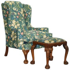 William Morris Georgian Irish Style Claw & Ball Walnut Wingback Armchair & Stool
