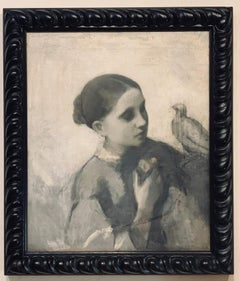 Grisaille Portrait of a Young Woman and a Bird,  Sketch Attrib. to WM Hunt