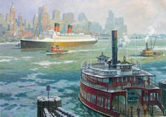Ile De France in New York Harbor, 1955