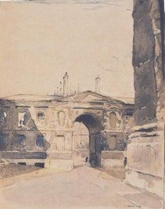 Christ Church Oxford College, William Nicholson lithograph 1905 Stafford Gallery