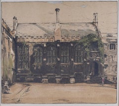 Exeter College, Oxford, William Nicholson lithograph 1905 for Stafford Gallery