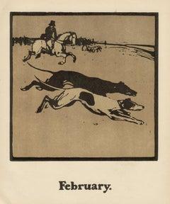 'February' - Coursing, William Nicholson greyhound dog sporting print