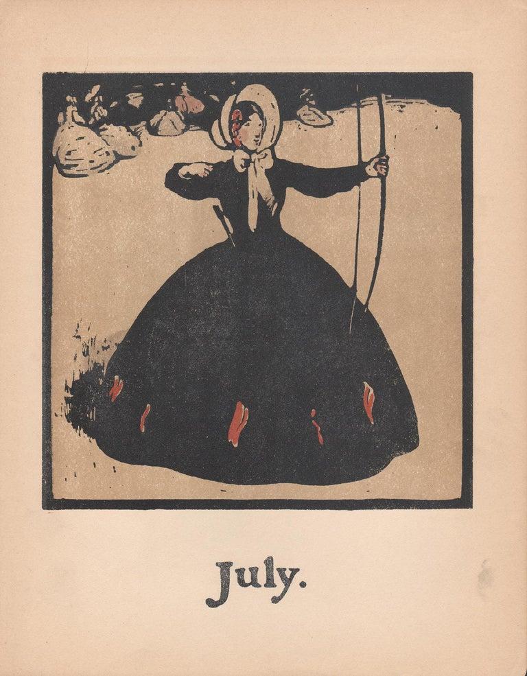 'July' - Archery, William Nicholson late 19th century sporting print - Print by William Nicholson