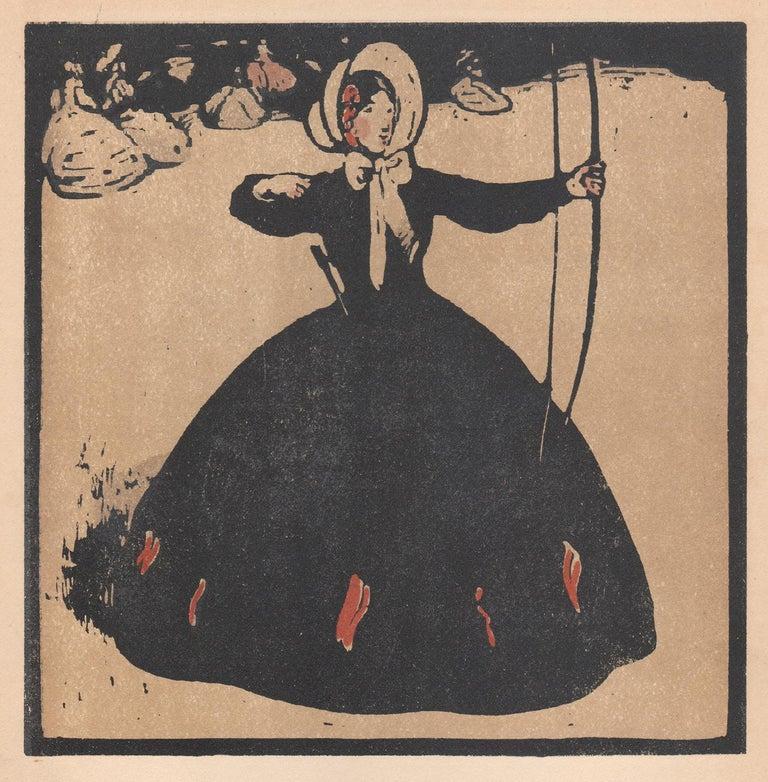 'July' - Archery, William Nicholson late 19th century sporting print - Naturalistic Print by William Nicholson