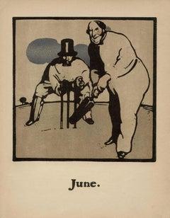 'June' - Cricket, William Nicholson late 19th century sporting print