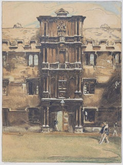 Merton College Oxford, William Nicholson lithograph 1905 Stafford Gallery
