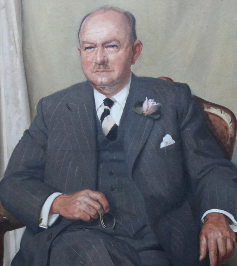Portrait of a Gentleman - Scottish oil painting mid 20th century art - Realist Painting by William Oliphant Hutchinson