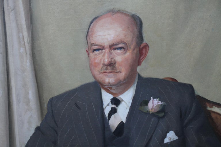 Portrait of a Gentleman - Scottish oil painting mid 20th century art - Black Portrait Painting by William Oliphant Hutchinson
