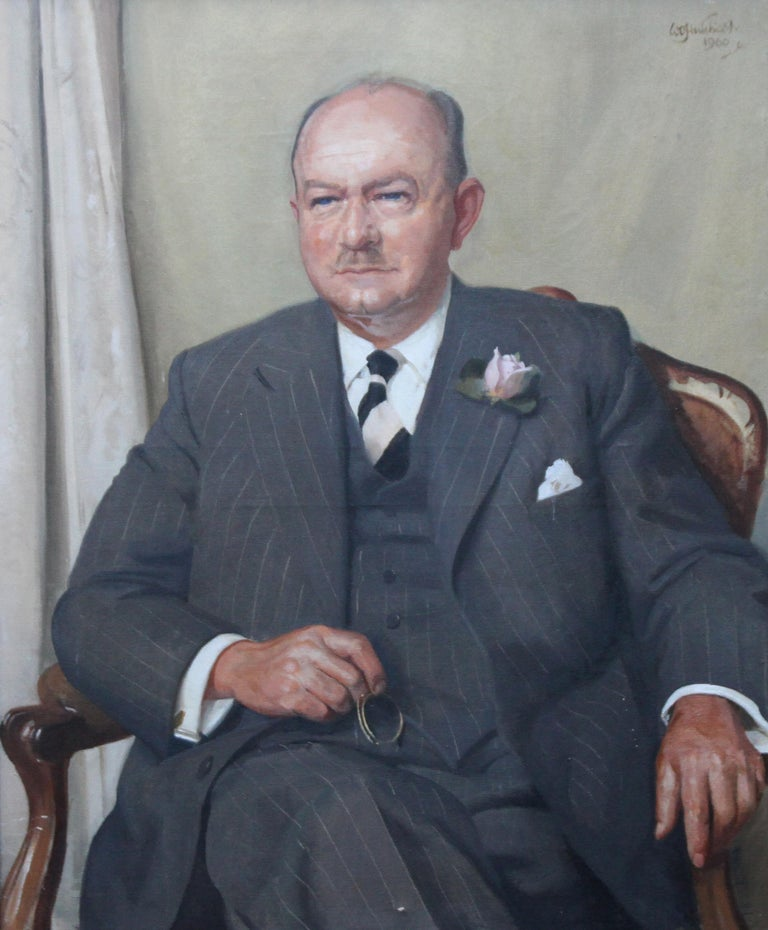 Portrait of a Gentleman - Scottish oil painting mid 20th century art For Sale 1