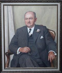 Portrait of a Gentleman - Scottish oil painting mid 20th century art