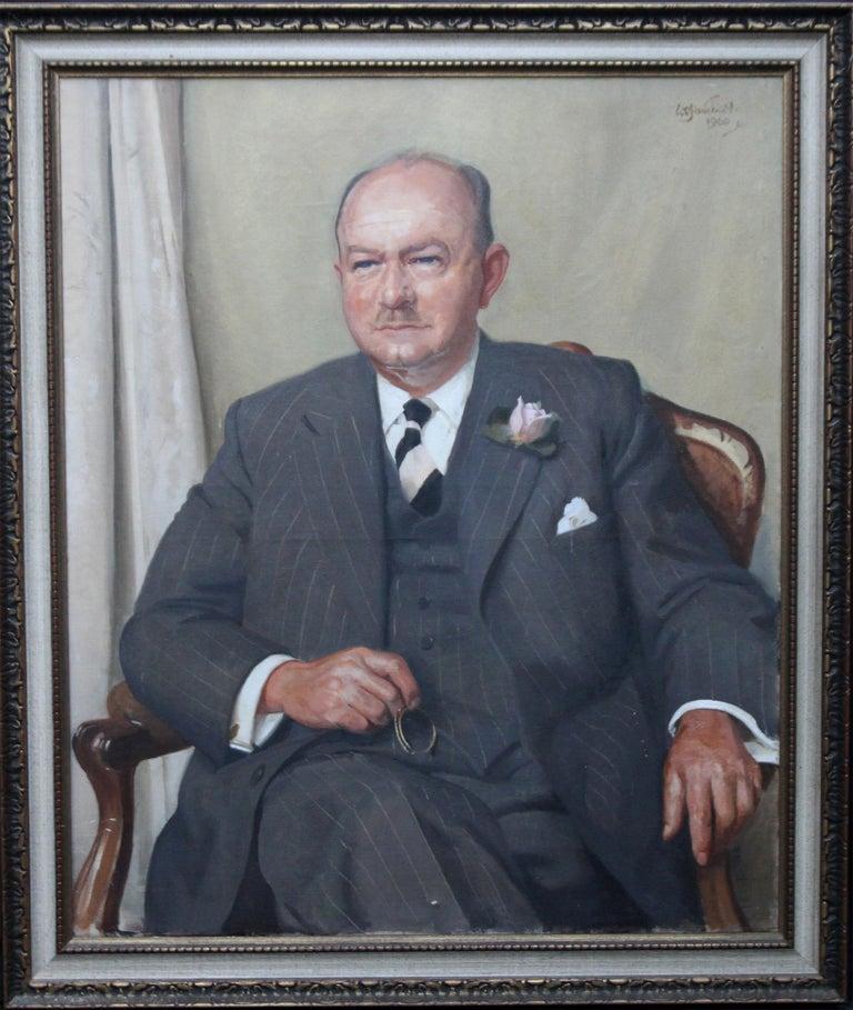William Oliphant Hutchinson Portrait Painting - Portrait of a Gentleman - Scottish oil painting mid 20th century art