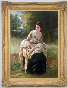 "19th Century Academic Portrait of a Woman, ""Flower Gathering"""