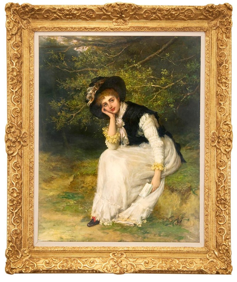 """William Oliver Portrait Painting - 19th Century Academic Portrait of a Woman, """"The Love Letter"""""""