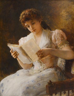 "19th Century Academic Portrait of a Woman, ""Woman reading a Book"""