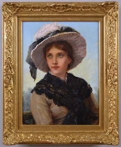 19th Century portrait oil painting of a young woman by William Oliver