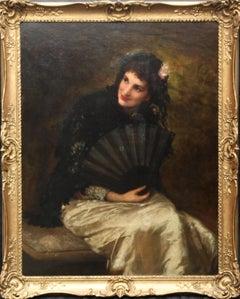 Portrait of a Spanish Beauty -British Victorian art female portrait oil painting
