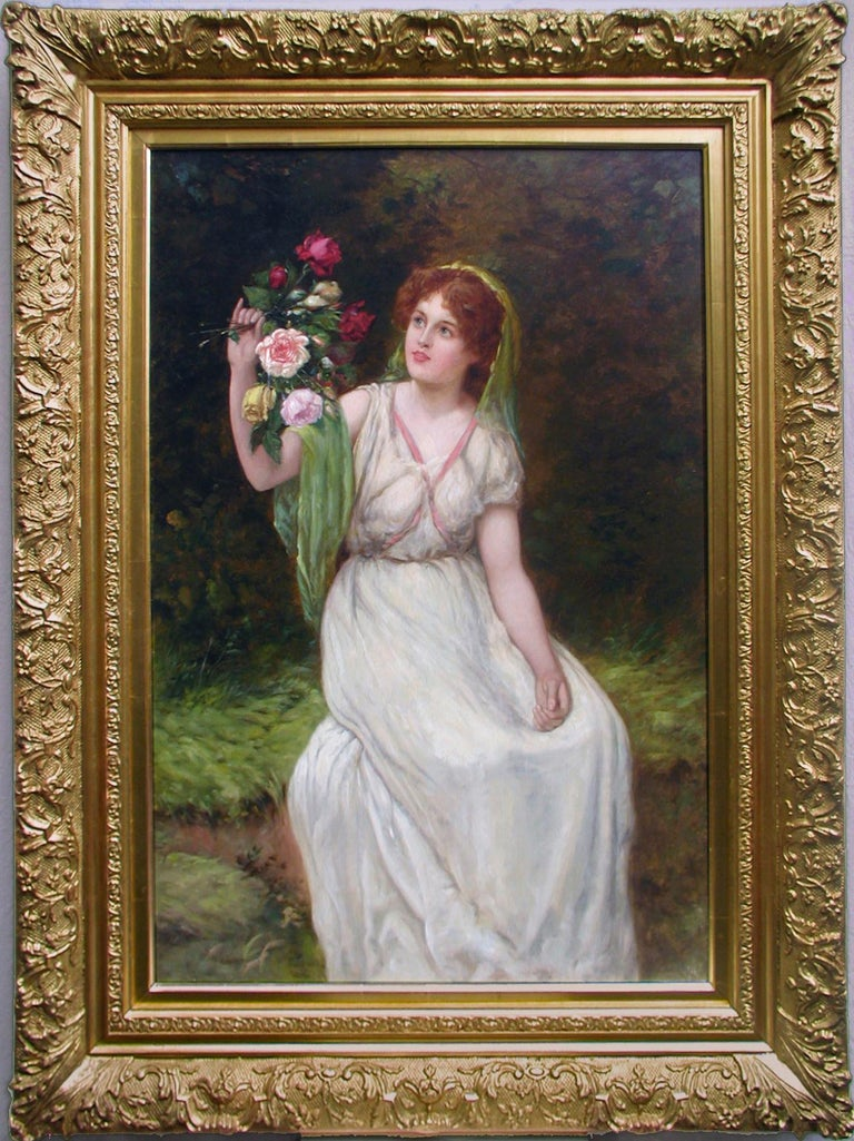 William Oliver Figurative Painting - 19th Century genre painting of a maiden holding flowers