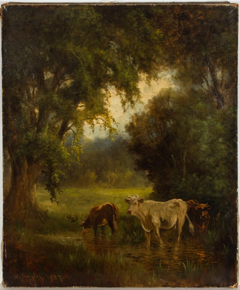 William Ongley (1836-1890) - Very Fine 1887 Oil, Cows at the River - Realist Painting by William Ongley