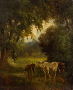 William Ongley (1836-1890) - Very Fine 1887 Oil, Cows at the River
