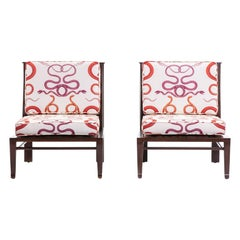 William Pahlmann Thebes Chairs with Snake Fabric, circa 1964