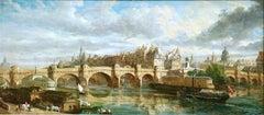 Pont Neuf & Ile de la Cite - Paris 1843 - 19th Century Riverscape by W Parrott
