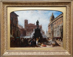 Street Scene in Bologna, Italy - British Victorian art oil painting