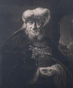 William Pether after Rembrandt van Rijn - 1778 Mezzotint, The Rabbi