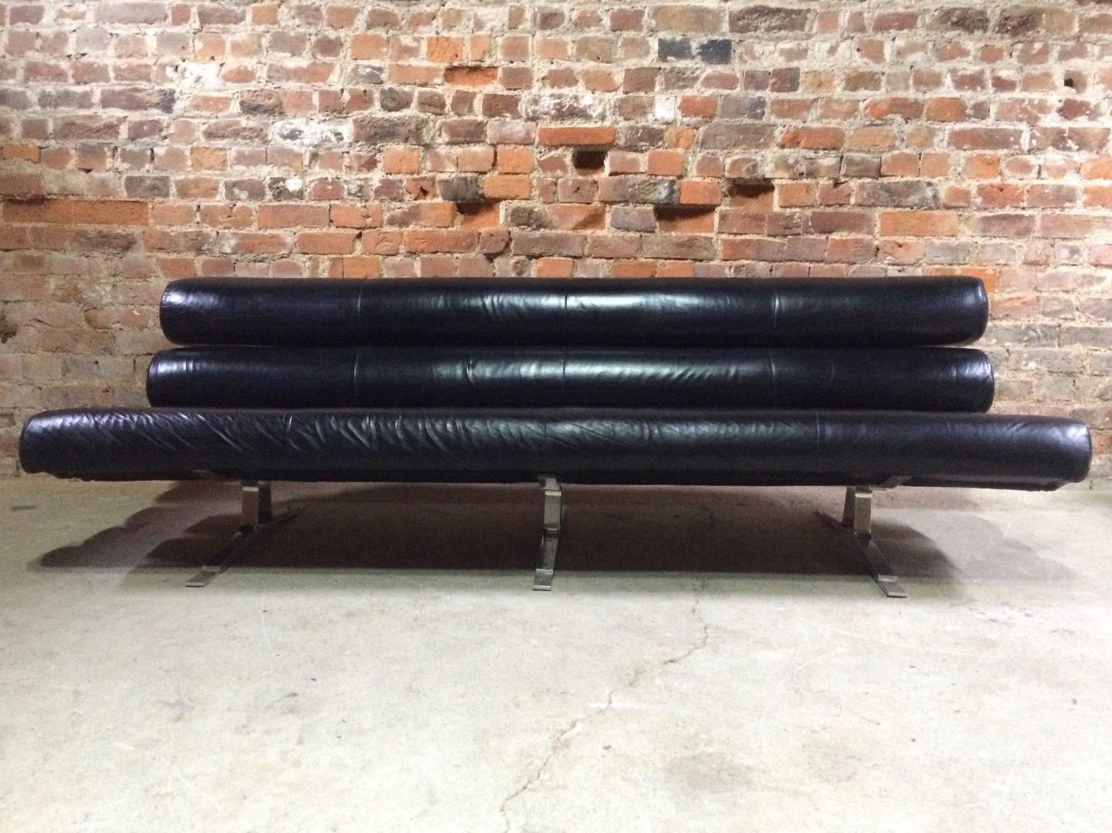 William Plunkett Sofa Settee Kingston Range Black Leather1960s MCM For Sale  5