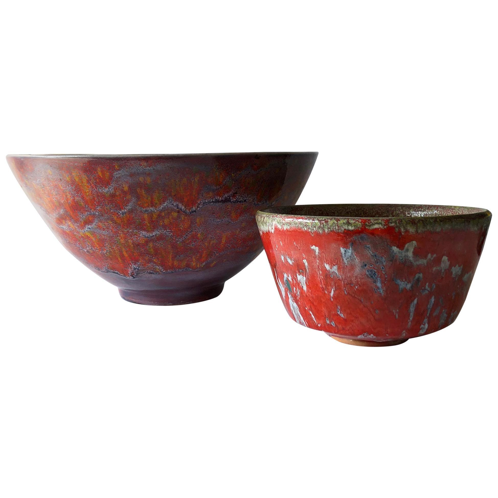 William Polia Pillin California Studio Pair of Colorful Ceramic Bowls
