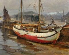 Dry Alongside.Tidal Estuary Wharf. Glasgow Artist. Original Marine Painting 1908