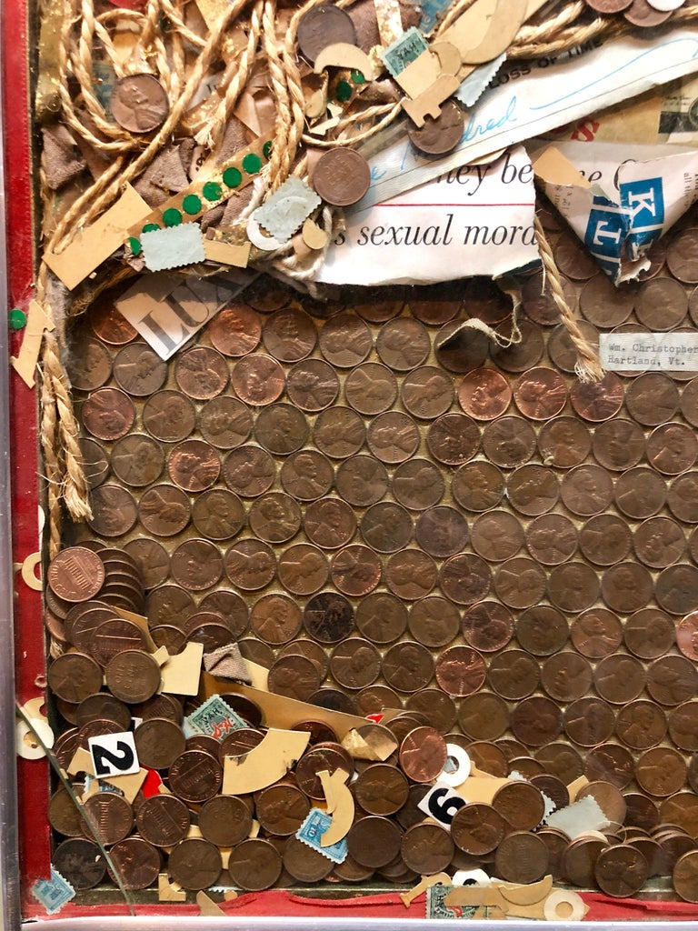 Assemblage Collage Painting/Sculpture with Pennies and Scrap Civil Rights Artist For Sale 1