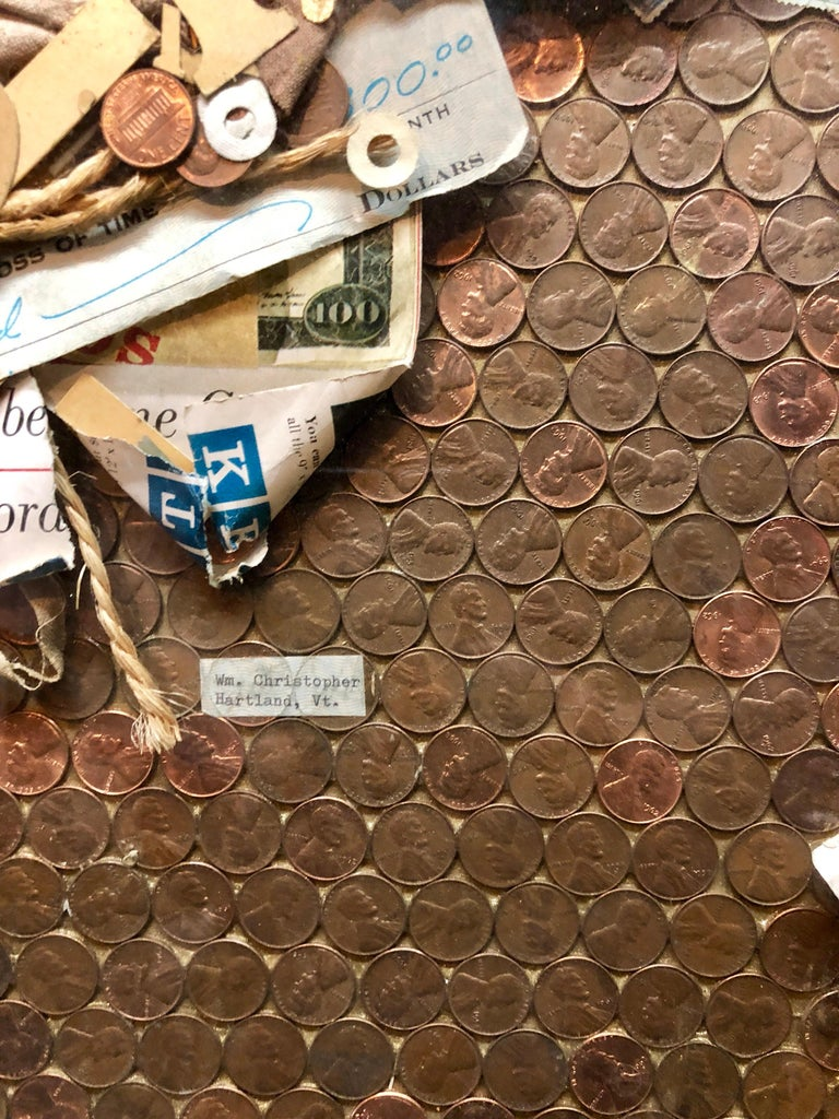 Assemblage Collage Painting/Sculpture with Pennies and Scrap Civil Rights Artist For Sale 3