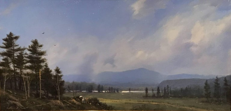 This fine landscape oil painting of the White Mountains in New Hampshire, with an artist at work in the foreground was painted by American artist William R. Davis (1952-). Davis was born in Somerville, Massachusetts, grew up in Hyannis Port, MA and
