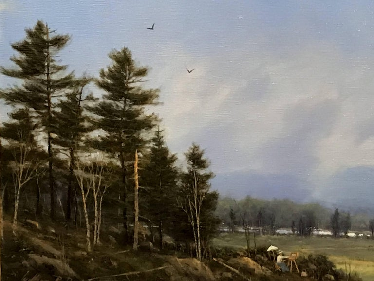 American William R. Davis Landscape Oil Painting of the White Mountains, Artist at Work For Sale