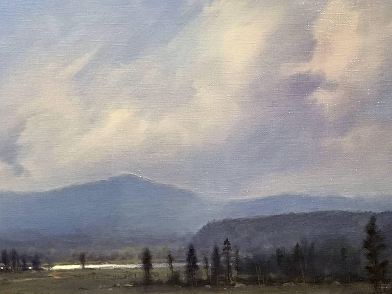 Hand-Painted William R. Davis Landscape Oil Painting of the White Mountains, Artist at Work For Sale