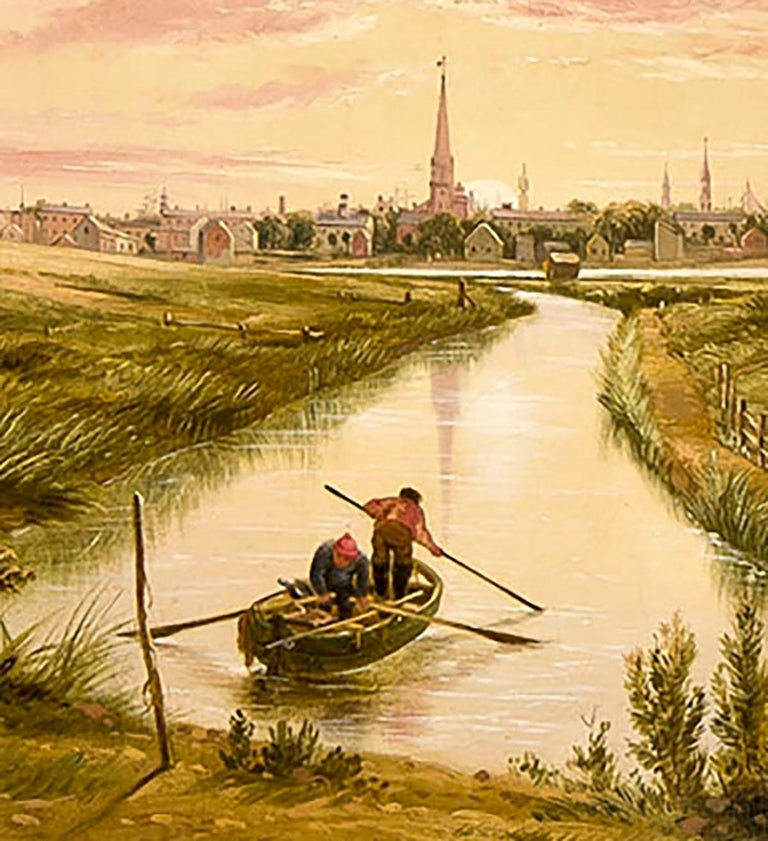 New York from Hoboken  - American Realist Painting by William Rickarby Miller