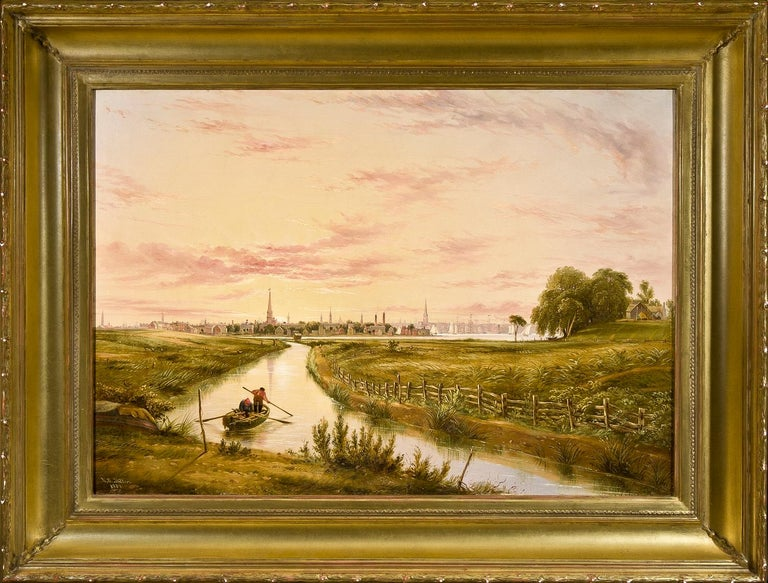 New York from Hoboken  - Beige Landscape Painting by William Rickarby Miller