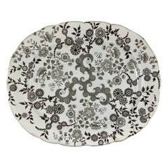 William Ridgway English Staffordshire Transferware Platter, Flosculous Pattern