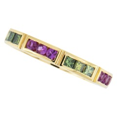 William Rosenberg 18 Karat Gold Green Diamond and Pink Sapphire Ring