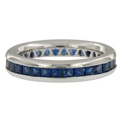 William Rosenberg 18 Karat White Gold Blue Sapphire Ring 2.50 Carat TW