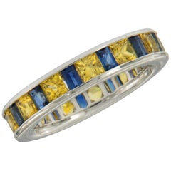 William Rosenberg 18 Karat White Gold Blue & Yellow Sapphire Ring 4.48 Carat TW