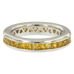 William Rosenberg 18 Karat White Gold Intense Yellow Sapphire Ring 2.50 Carat TW