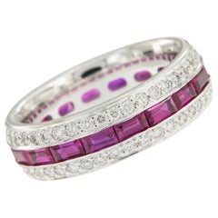 William Rosenberg 18 Karat White Gold Ruby and Diamond Band 3.54 Carat TW