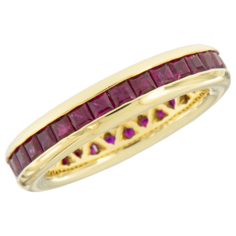 William Rosenberg 18 Karat Yellow Gold Princess Cut Ruby Band 2.50 Carat TW For Sale