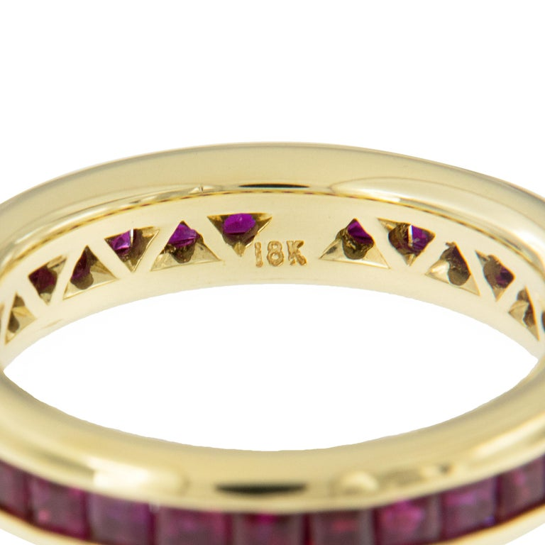 Contemporary William Rosenberg 18 Karat Yellow Gold Princess Cut Ruby Band 2.50 Carat TW For Sale