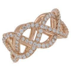 William Rosenberg 20 Karat Rose Gold and Diamond Woven Ring