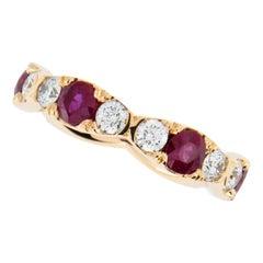 William Rosenberg 20 Karat Rose Gold Ruby and Diamond Eternity Ring